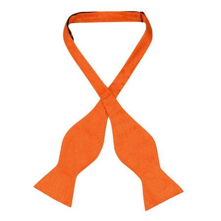 Vesuvio Napoli SELF TIE Bow Tie BURNT ORANGE Color PAISLEY Design Men's (Orange Bowties)