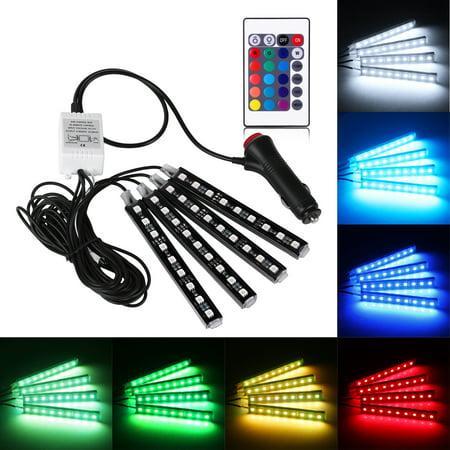4PCS RGB Car Interior LED Strip Light 6W 36LEDs 5050 SMD Atmosphere Lamp Remote Control Decorative Light Kit](Walmart Led Lights Car)
