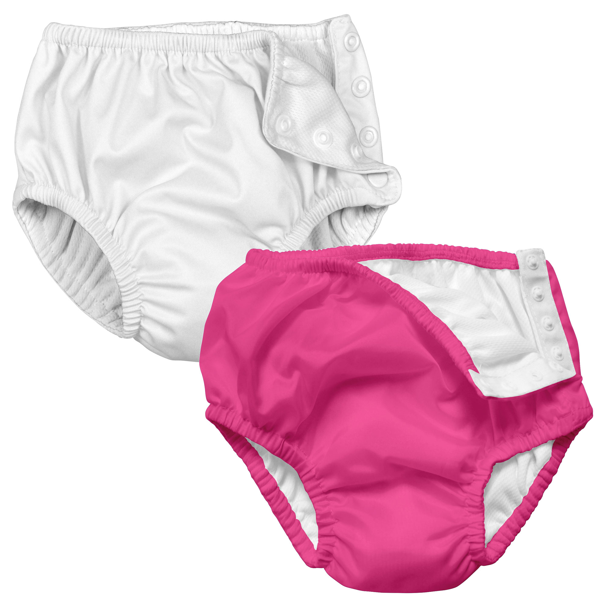i play Baby and Toddler Snap Reusable Swim Diaper - Hot Pink and White - 2 Pack