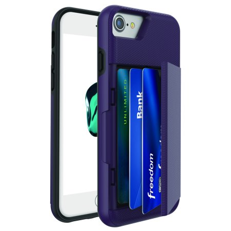 reputable site b66aa dfdf7 Blackweb Phone Case With Easy-Access Fan-Out Hidden Credit Card Holder &  Stand For iPhone 6/6S/7/8, Purple