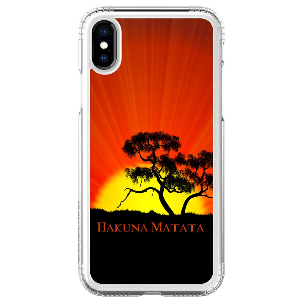 "SaharaCase iPhone X / XS (5.8"" Screen) Clear Shockproof Custom Case By DistinctInk - Protective Kit & ZeroDamage Screen Protector - Hakuna Matata"