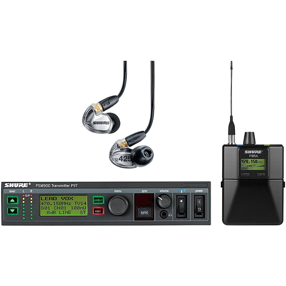 Shure PSM900 System with P9RA Rechargeable Bodypack Receiver and SE425CL Sound Isolating Earphones Band G6 Clear by Shure