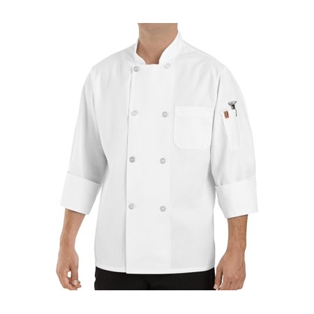 8 Button Chef Coat - Men's Eight Pearl Button Chef Coat with Thermometer Pocket
