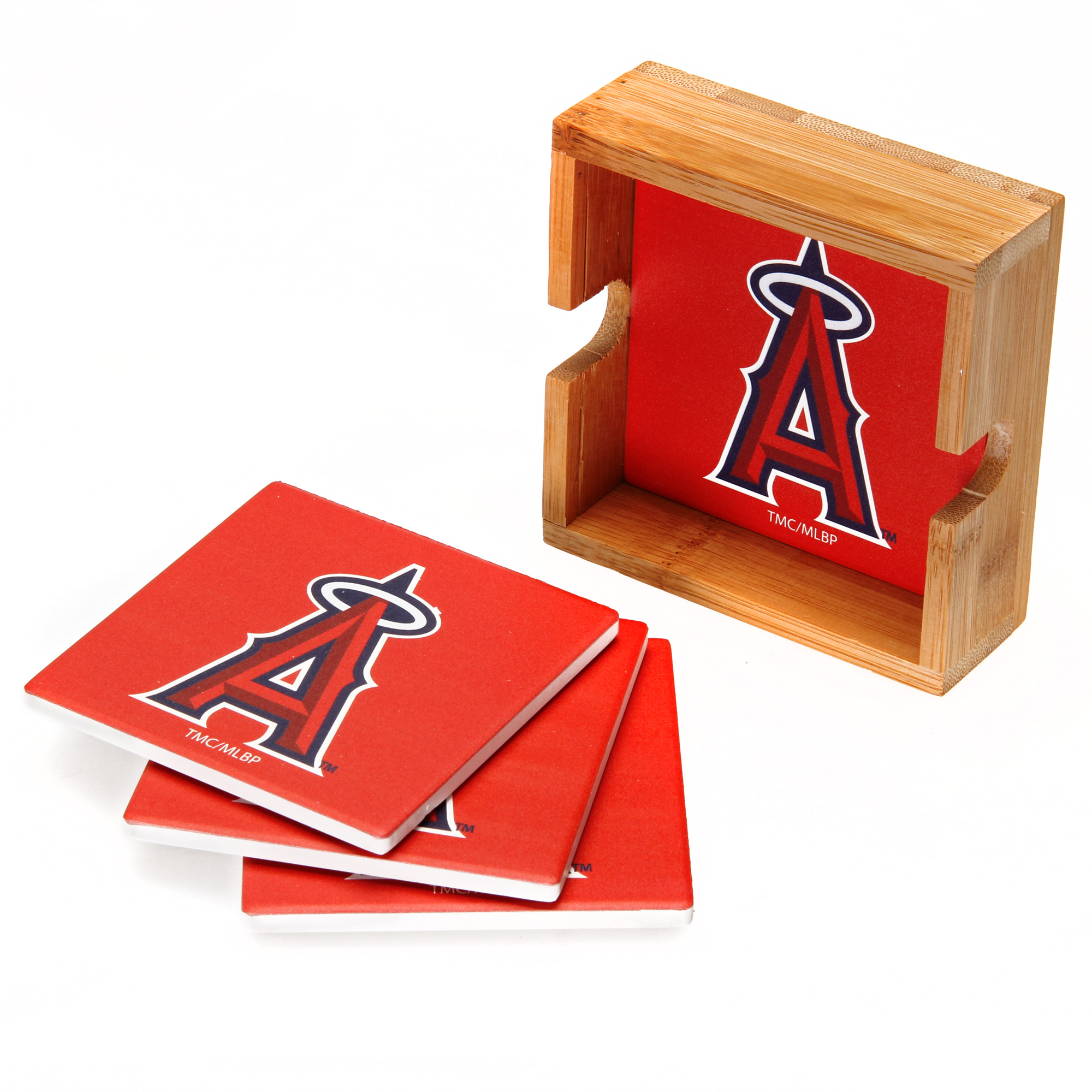 Los Angeles Angels 4-Pack Square Coaster Set with Caddy - No Size