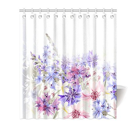 MYPOP Lavender Shower Curtain, Purple Pink Cornflowers Classic Design Gentle Floral Art Wedding Decorations Fabric Bathroom Decor with Hooks, 66 X 72 Inches, Violet Pink Grey