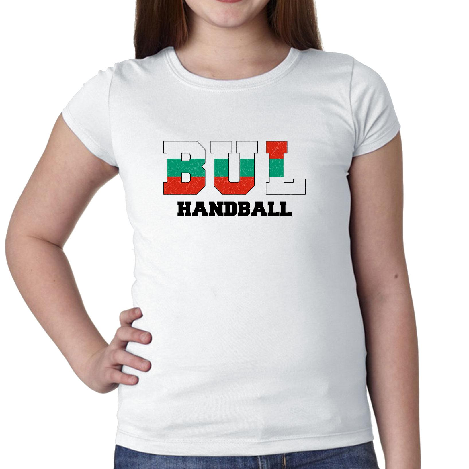Bulgaria Handball Olympic Games Rio Flag Girl's Cotton Youth T-Shirt by Hollywood Thread