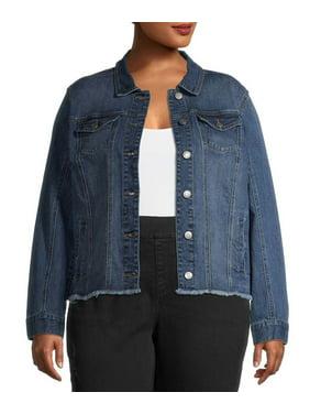 Alivia Ford Women's Plus Size Fray Hem Trucker Jacket