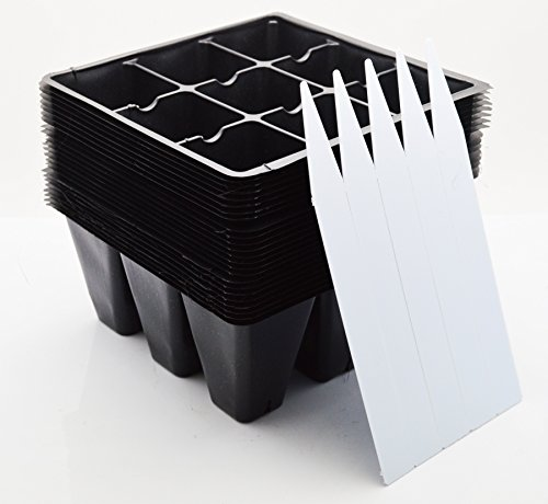 9GreenBox - Seedling Starter Trays, 216 Cells: (24 Trays; 9-cells Per Tray), Plus 5 Plant Labels