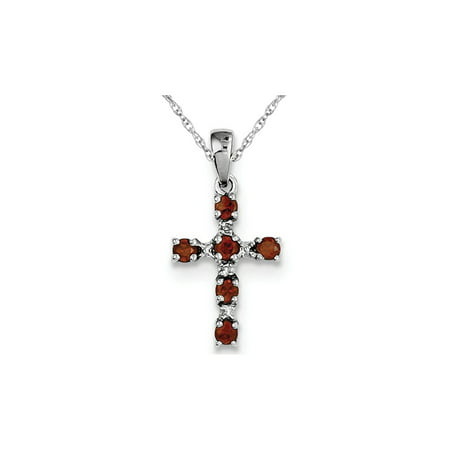 2/5 Carat (ctw) Garnet Cross Pendant Necklace in Sterling Silver with Chain