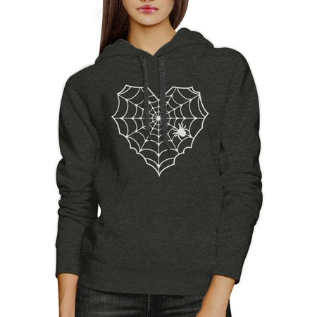 Spider Web Halloween Horror Nights Sweater Hoodie Dark Grey Unisex (Halloweens Weather)