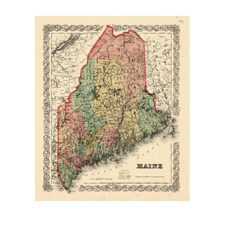 1855 Art - 1855, Maine State Map 1855, Maine, United States Print Wall Art