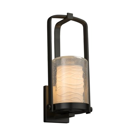 Justice Design  Group Limoges Atlantic Matte Black Outdoor Wall Sconce, Small Cylinder - Flat Rim Shade, Small Waves Shade