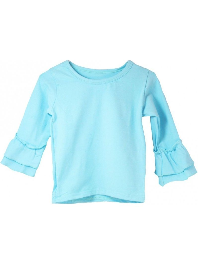 Girls Light Blue Double Tier Ruffle Sleeved Cotton Spandex Top 12M-7