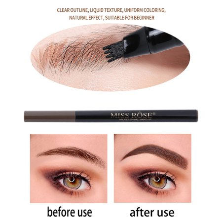 MISS ROSE 4 Heads Fork Fine Liquid Eyebrow Pencil Tattoo Eyebrow Pen Waterproof Long Lasting Fork Tip Sketch for Professional Makeup or Daily