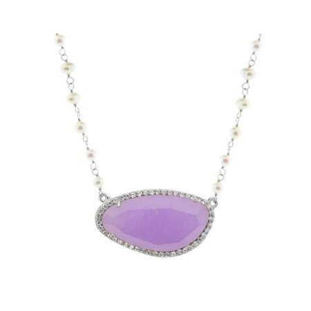 9P1109P Purple Jade Stone Slice & Mini Pearls Necklace in Sterling Silver
