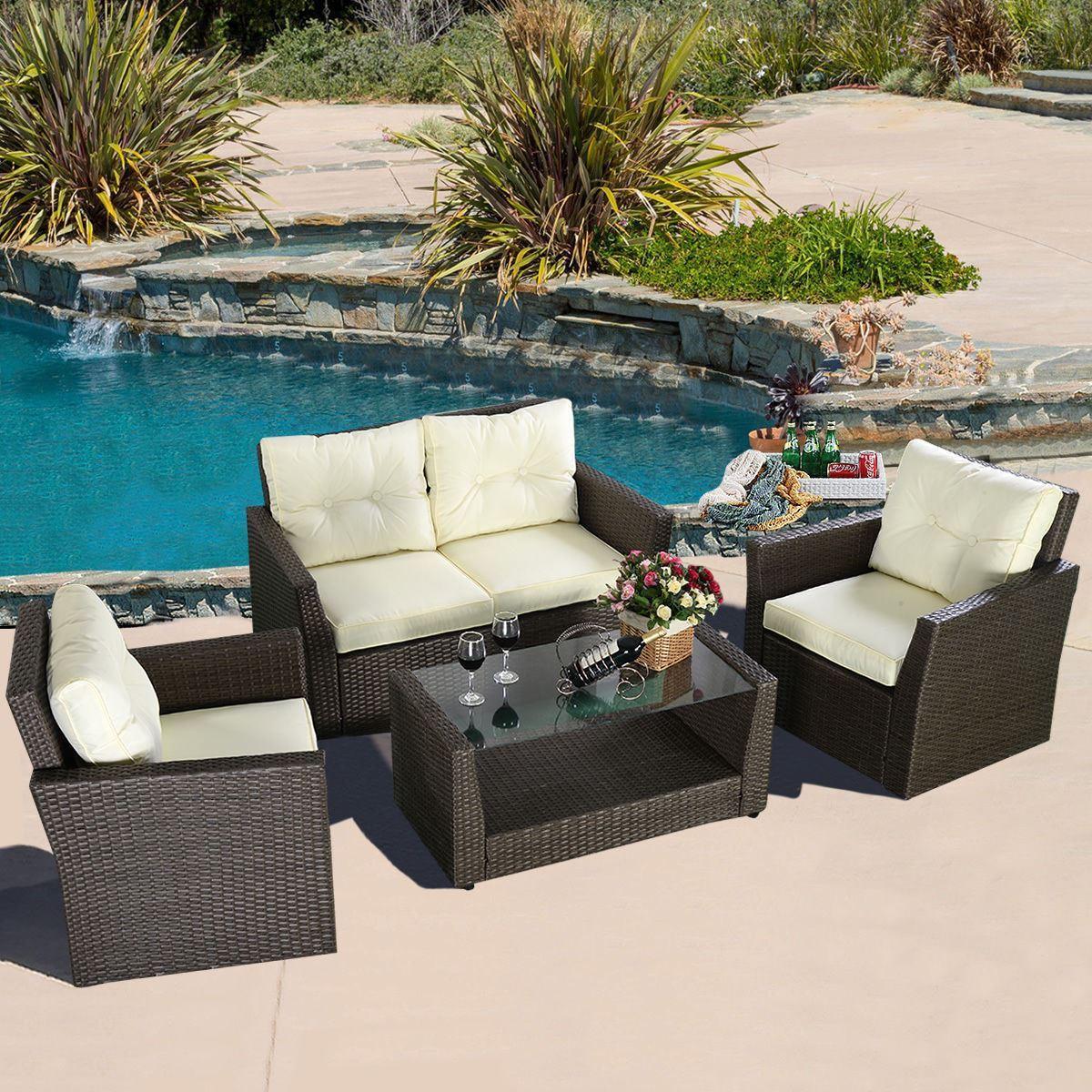 4PC Rattan Sofa Furniture Set Patio Garden Lawn Cushioned Seat