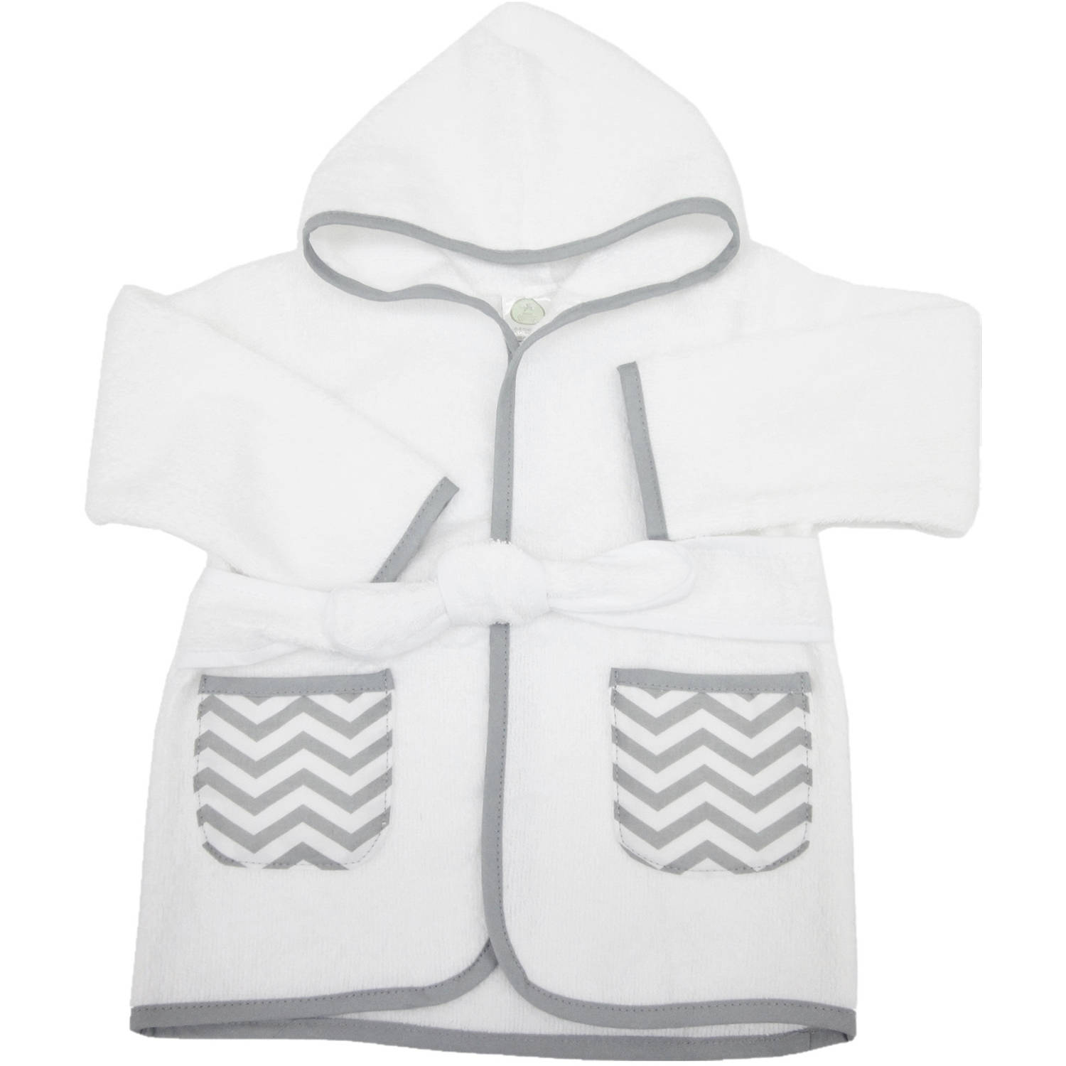 TL Care 0-9 Months Baby Bathrobe Made with Organic Cotton, Gray Zigzag