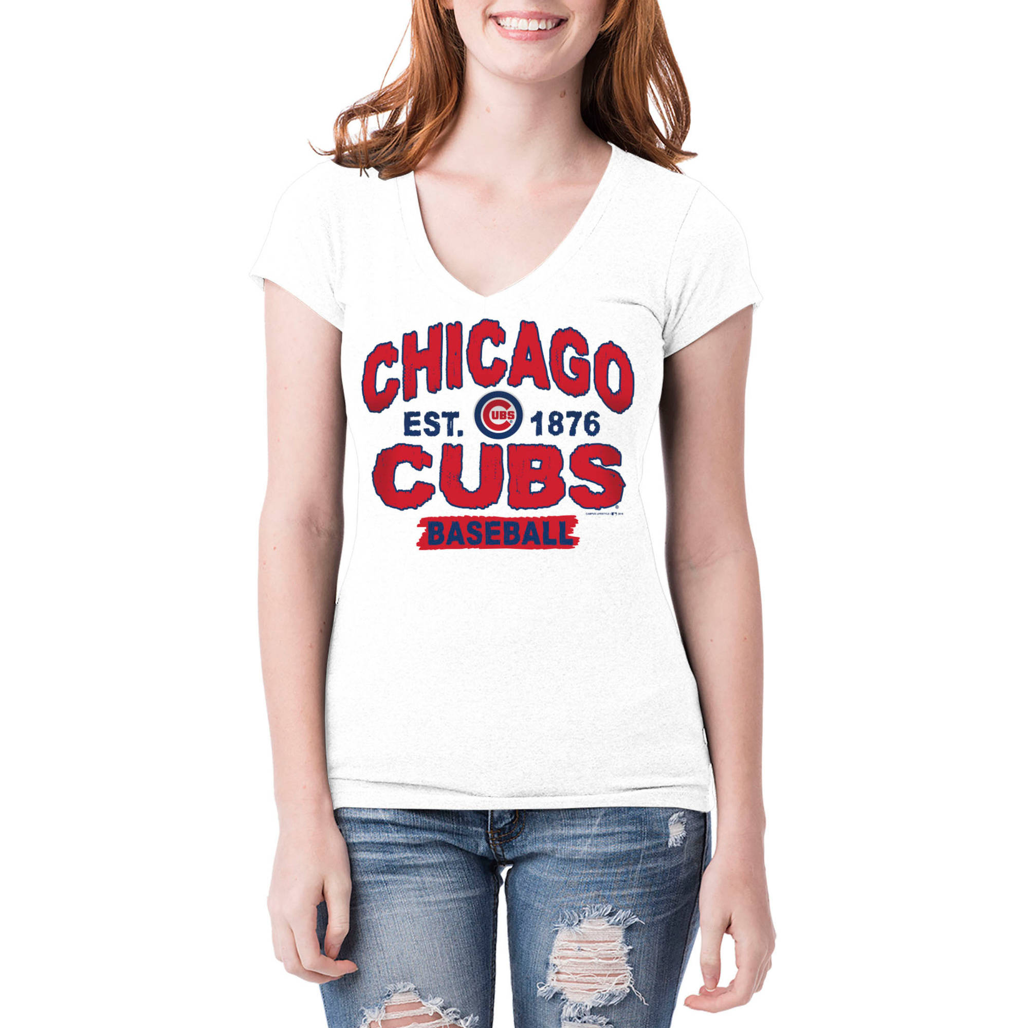 Chicago Cubs Womens Short Sleeve White Graphic Tee