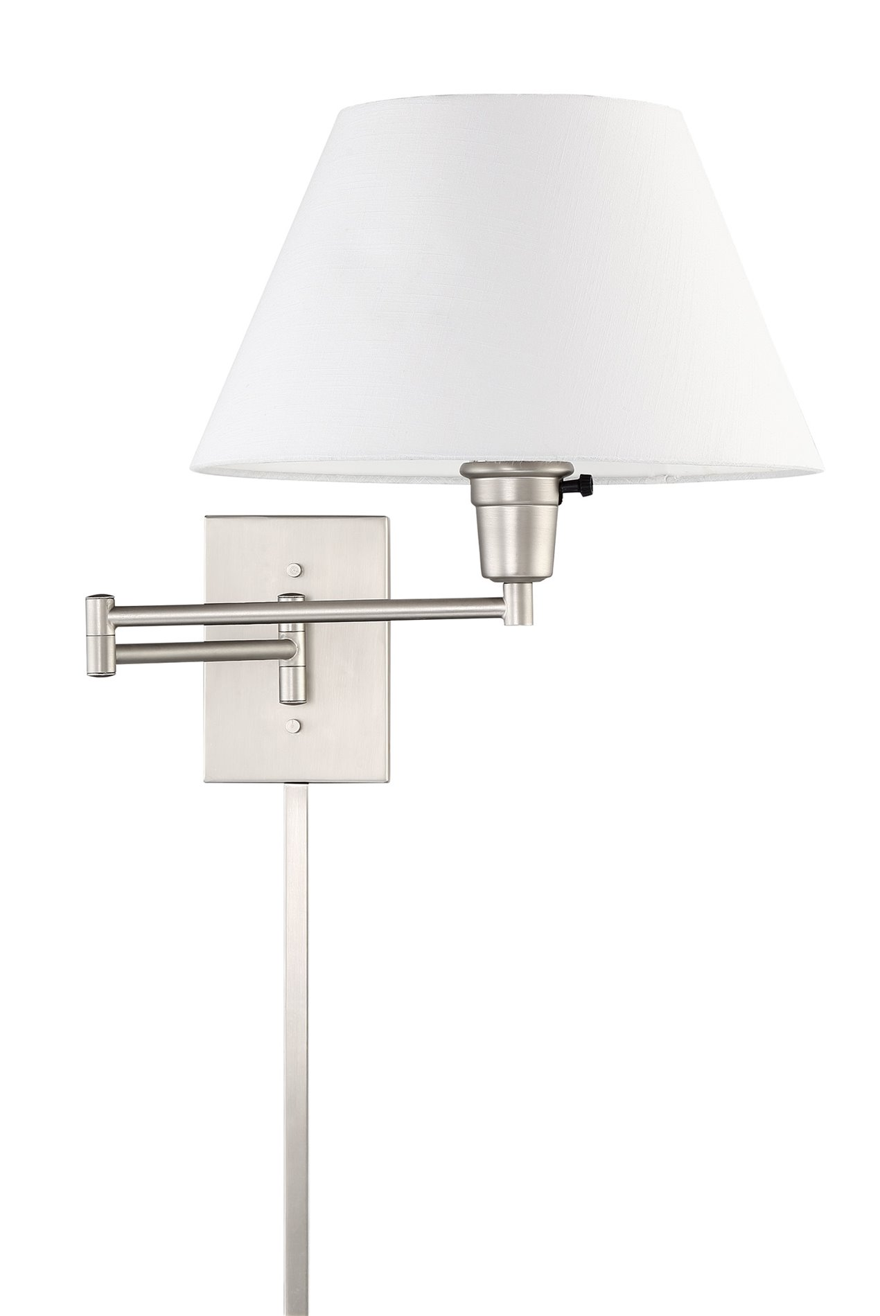 "Revel Cambridge 13"" Swing Arm Wall Lamp Plug In Wall Mount + White Fabric Shade, 150W 3-Way, Satin Nickel Finish by"
