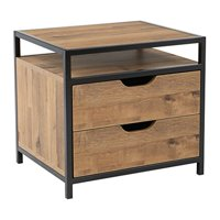 OSP Designs by Office Star Products Quinton 2-Drawer Nightstand, Salvage Oak Finish and Matte Black Coating