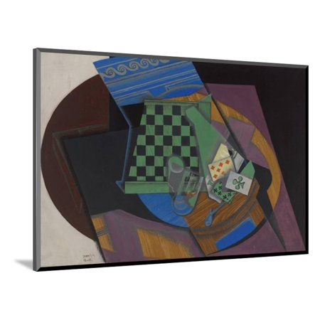 Checkerboard and Playing Cards, 1915 Wood Mounted Print Wall Art By Juan Gris