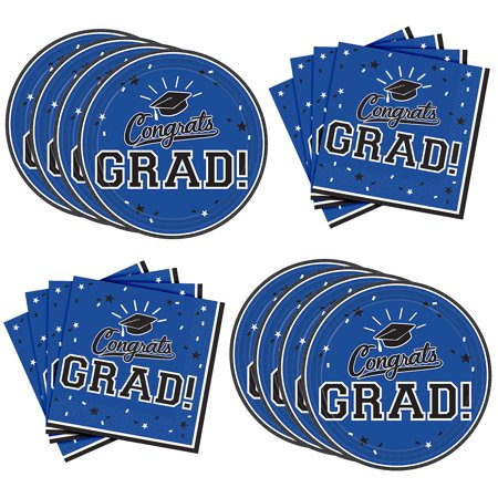 Party City Congrats Grad Graduation Lunch Supplies for 18 Guests, Large Paper Plates and Napkins for Easy Cleanup - Party City H