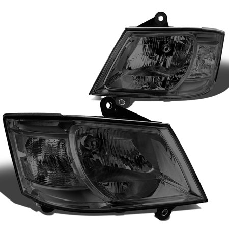For 08-10 Dodge Grand Caravan Headlight Smoked Housing Clear Corner Headlamp 3.3L-4.0L 09 Left+Right