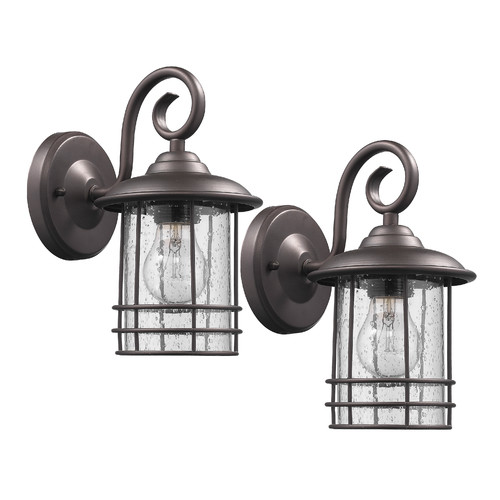 "Transitional 1 Light Rubbed Bronze Outdoor Wall Sconce 10"" Height, 2-pack"