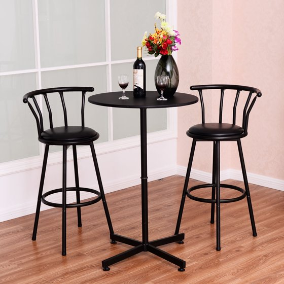 Table And Chairs Walmart: Costway 3 Piece Bar Table Set With 2 Stools Bistro Pub