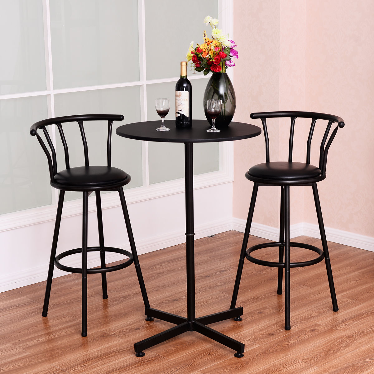 Costway 3 Piece Bar Table Set with 2 Stools Bistro Pub Kitchen Dining Furniture Black & Pub Table Sets