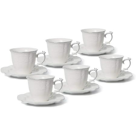 Royalty Porcelain 12pc Tea Set 'Filigree' 6 Cups 6 Saucers, Bone China (Silver)