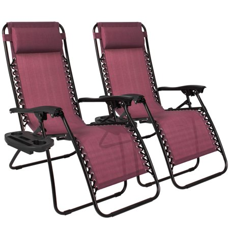 Best Choice Products Zero Gravity Chairs Case Of  2  Lounge Patio Chairs Outdoor Yard Beach  Burgundy