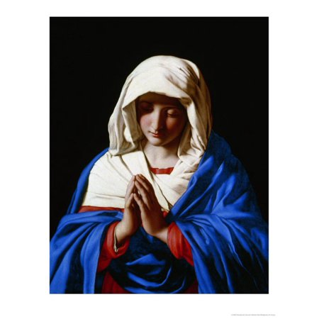 Mara Painting - The Virgin in Prayer, 1640-50 Italian Baroque Painting of the Virgin Mary Print Wall Art By Giovanni Battista Salvi da Sassoferrato