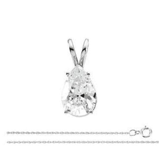 Pear Diamond Solitaire Pendant Necklace 14k  ( 0.59 Ct, E Color, SI1(K.M) Clarity)