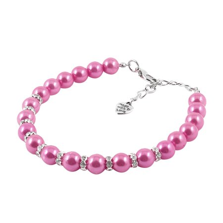 Unique Bargains Pink Faux Pearl Linked Rhinestone Inlaid Pet Dog Cat Puppy Collar Necklace S