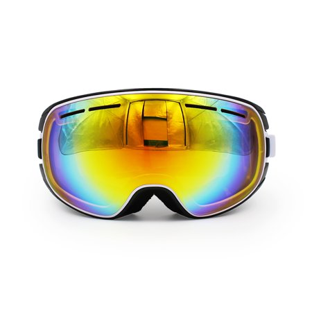 Ediors Windproof Snowmobile Snowboard Skate Ski Goggles with Detachable Lens - Dual Anti-fog,Anti-UV (Best Snowmobile Goggles For Night)