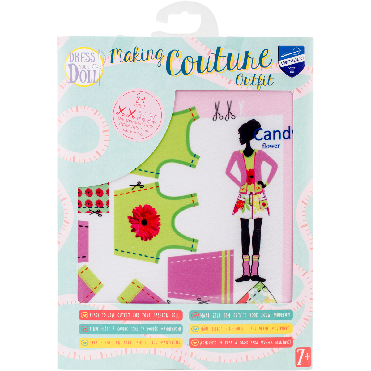 Maggy Candy Dress Your Doll Ready To Sew Outfit Vervaco Making Couture Sweet Layered Dress Design Pattern