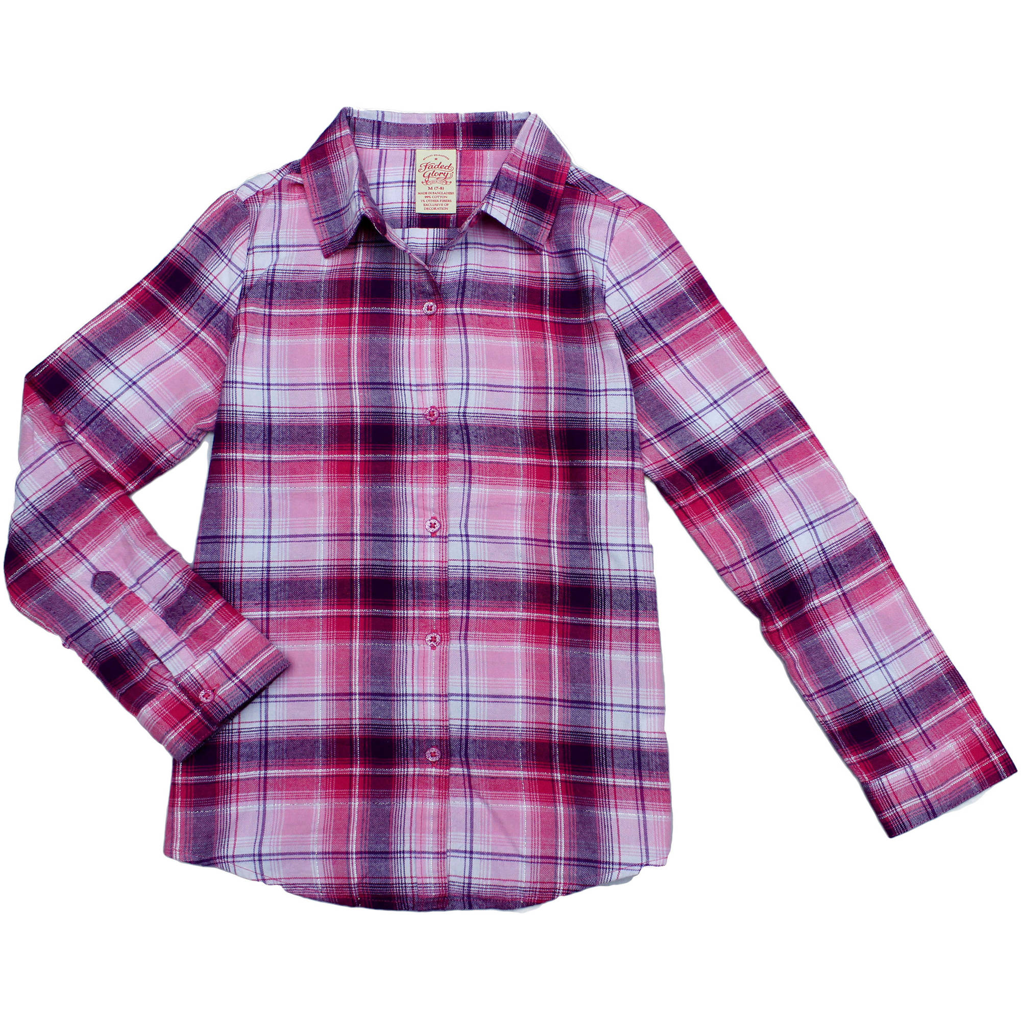 Faded Glory Girls' Flannel Button Down Shirt