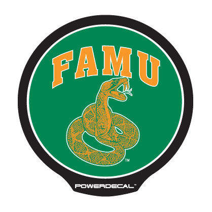 PowerDecal PWR101001 Decal College Florida A&M Rattlers Logo; Backlit LED; Round; Green/ Orange/ White; Black Plastic; 4.5 Inch Diameter - image 1 of 1