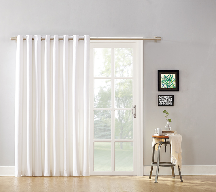 Mainstays Blackout Energy Efficient Extra Wide Sliding Glass Door Grommet  Curtain Panel With Detachable Wand  Curtains For Sliding Glass Doors