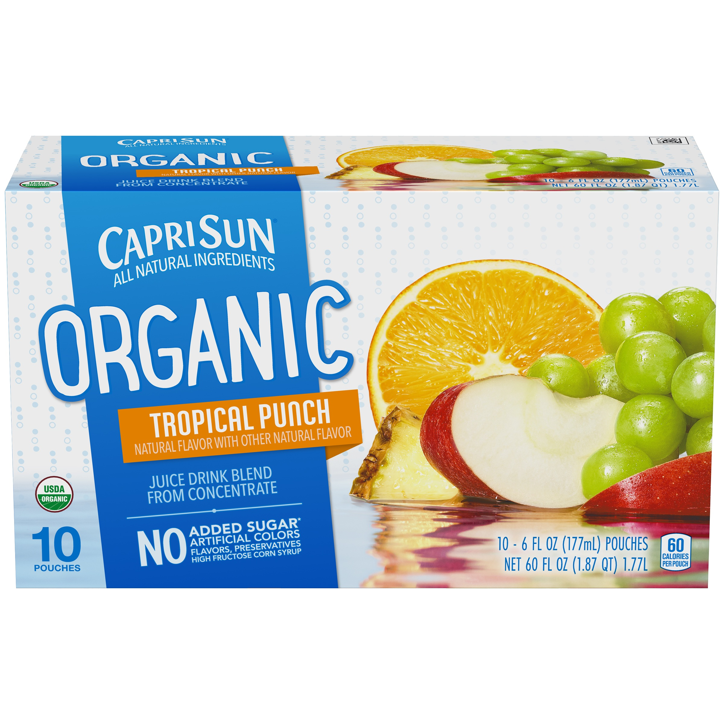 (4 Pack) Capri Sun Organic Tropical Punch Ready-to-Drink Soft Drink, 10 - 6 fl oz Pouches