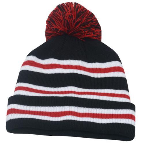 Fashion Hat Boys Red Black White Stripe Pompom Beanie Hat