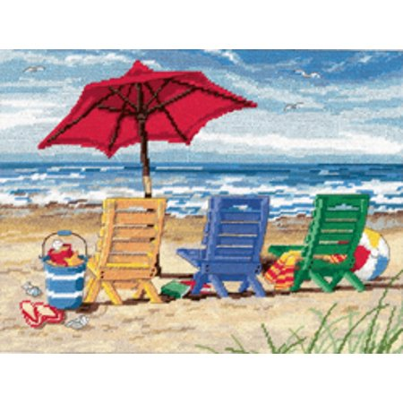 - Beach Chair Trio Needlepoint Kit, 16