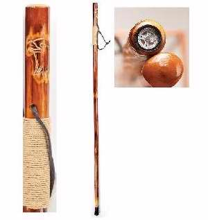 "Walking Stick W Built-In Compass On Top- Eagle (48"") (Pack of 4) by Manual Woodworkers & Weavers"