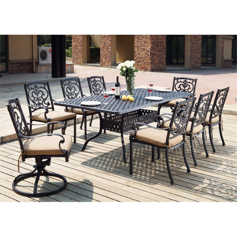 Darlee Santa Barbara 9 Piece Patio Dining Set with Seat Cushion