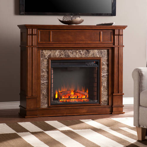"Pennington Media Electric Fireplace Console with Faux Granite, for TV's up to 46"", Whiskey Maple"