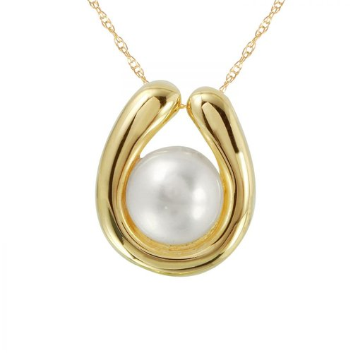 Foreli 7MM Freshwater Pearl 14K Yellow Gold Necklace by Generic