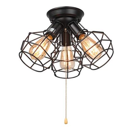 lnc wire cage ceiling lights 3 light pull string flush mount ceiling light. Black Bedroom Furniture Sets. Home Design Ideas
