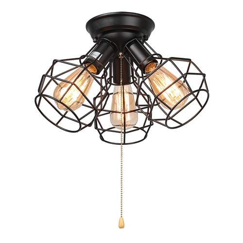 LNC Wire Cage Ceiling Lights 3-light Pull String Flush Mount Ceiling Light