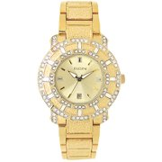Men's Crystal Accented Champagne Dial Date Watch, Gold